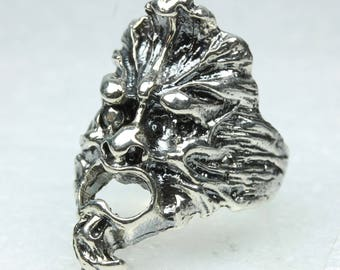 Unique Georgian Green Man Sterling Silver Ring, Size: Y, 12