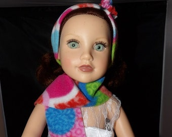 Colorful Fleece handmade & scarf set for 18 inch dolls - ag258