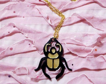 Long Gold and Black SCARAB Pendant Necklace // Acrylic Plastic Laser Cut Jewelry
