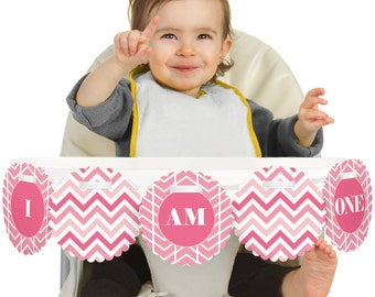Chevron Pink - 1st Birthday - I Am One - First Birthday High Chair Banner - First Birthday Party Decorations