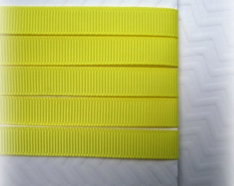 "Lemon Yellow Grosgrain Ribbon. 3/8"" Width. Narrow Grosgrain Ribbon. 5 Yards. No. 640"