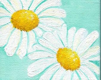 Shasta Daisies Acrylic Painting Aqua Original mini canvas art 4 x 4 white Shasta daisies original flowers art, acrylic painting canvas art