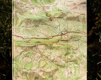 Map notebook - stationery, notebook, notebook, handmade, handmade card, made in France.