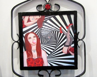 "Reproduction painting on plexiglass alu ""Trashe flashed"" framed and rose red 2"