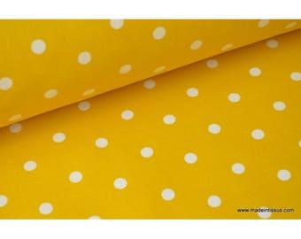 COTON IMPRIME POIS poppins jaune 160CM 135GR/M²x1m