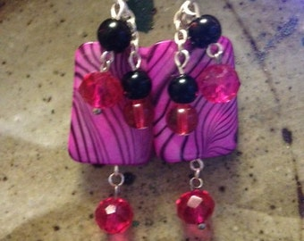 Hot pink and black mother of pearl dangle earrings, one of a kind, handmade