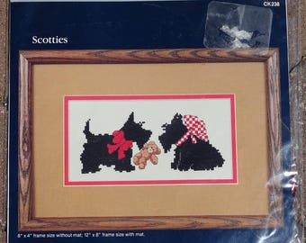 Scotties, Country Cross Stitch Kit by Dale Burdett, Kit for Scotties Lovers, Dale Burdett, Counted Cross Stitch Kit, Vintage, New, Compete