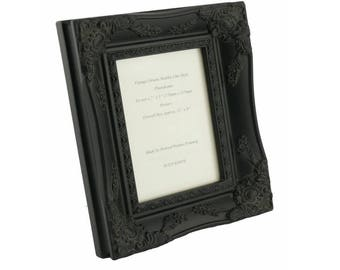 """Shabby Chic Ornate Black vintage swept picture frame for a 7"""" x 5"""" (178mm x 127mm)  photo."""