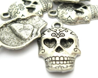 Sugar Skull Charms, Day of the Dead, Silver Pewter, 14x22mm - 2pc