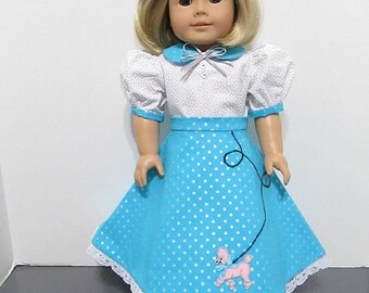 American Girl or 18 Inch Doll / 3 pc. Teal and White Poodle Skirt Set