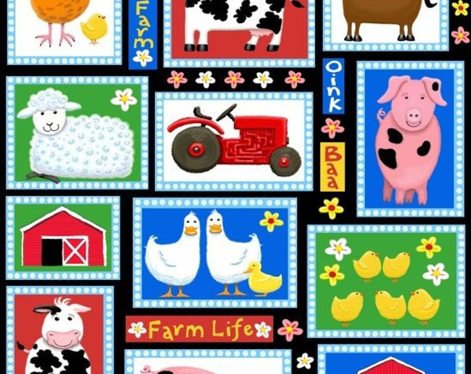 FARM LIFE PATCHWORK, Cotton Children's Fabric by Kate Mawdsley for Henry Glass 44 inches wide