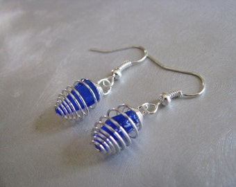Cobalt Blue - Caged Sea Glass Earrings - Beach Glass Earrings - Dangle Earrings