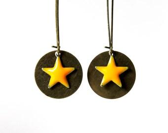 Yellow enameled star earrings
