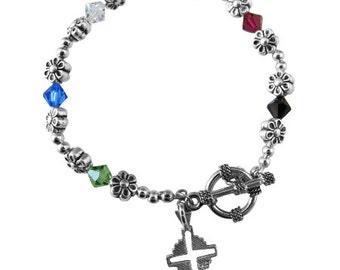 Sterling Silver Cross Salvation Bracelet Swarovski Crystals Free Shipping In USA