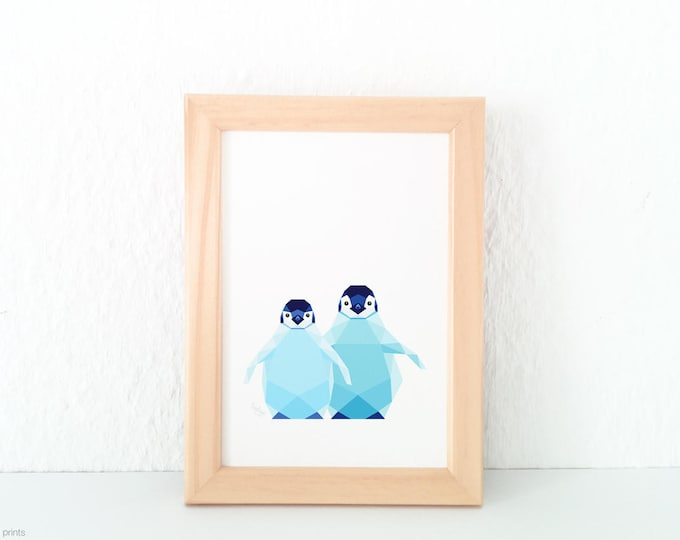Penguin baby print, Light blue baby room, New born nursery art, Sibling animal art, Animal brothers, Baby room decor, Emperor penguins art