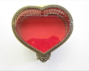 Vintage Gold Tone Cupid Heart Jewelry Box Trinket Box Hollywood Regency Style Beveled Glass Old School Romance