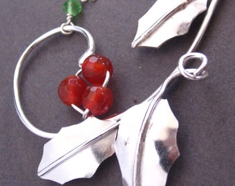 MADE TO ORDER Deck the Halls Necklace - Carnelian Berries and Sterling Holly
