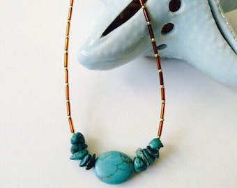 Howlite Turquoise Beach Necklace.
