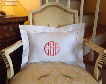 """12"""" X 16"""" Monogrammed White Linen Pillow Cover / Pillow Cover  + insert / Embroidered / Personalized Linen Pillow"""
