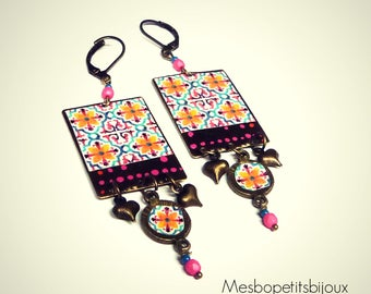 Dangle earrings pink, Bohemian, rectangle, unique piece