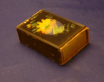 Vintage Match Box Safe with Glass Hand Painted Floral Top, 1970s