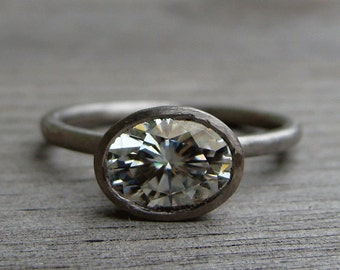 Forever One G-H-I Oval Moissanite and Recycled 950 Palladium Alternative Engagement Ring, Matte/Brushed, Eco-Friendly, Made to Order