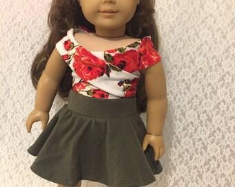 Army Green Knit Skater Skirt for 18 Inch dolls
