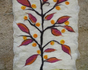Wall hanging, tree of life felted