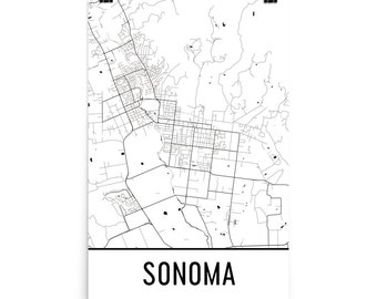 Sonoma Map, Sonoma Art, Sonoma Print, Sonoma CA Poster, Sonoma Wall Art, Map of Sonoma, Sonoma Poster, Sonoma Decor, Sonoma Gift, Map Art