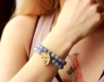 heart charm bracelet love women gift for girlfriend romantic gift for wife for lover blue bracelets stackable bracelets stack bracelet