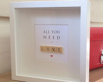 Framed illustrated word art with wooden letter tiles - All You Need Is LOVE
