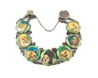 Toshikane Seven Fortune gods Bracelet/ Early Seven Lucky gods / 七福神 Shichi Fukujin / Seven Immortal gods of Japan /Arita Porcelain Bracelet