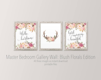 Hello handsome, Good morning beautiful printable wall art for master bedroom Blush pink floral Watercolor flower wall art prints for bedroom