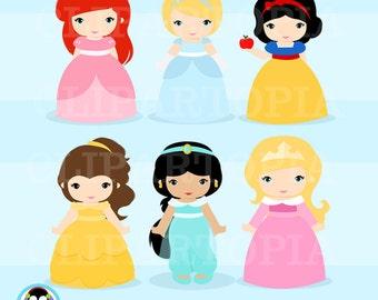 "Clasicc Princess Digital Clipart: ""PRINCESS""  Princess clip art, Princess Clipart for Personal and Commercial Use / INSTANT DOWNLOAD"