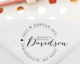Custom Return Address Stamp, Wedding Gift, Anniversary Gift, Self Inking Stamp, Wood Stamp, Circle Stamp, Housewarming Gift (T98)