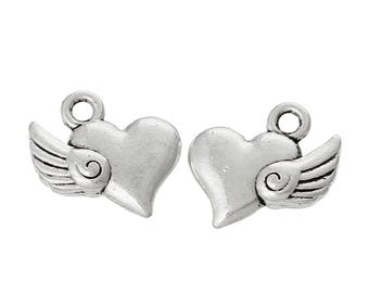 50 Charm pendant Flying Heart 14 x 13 mm, antique silver