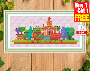 Modern Cross Stitch Pattern, City, Town, Little City, instant download, pdf, #sp 142