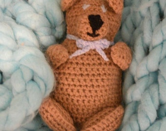 Crochet Cuddle Me Bear: Brown and Blue