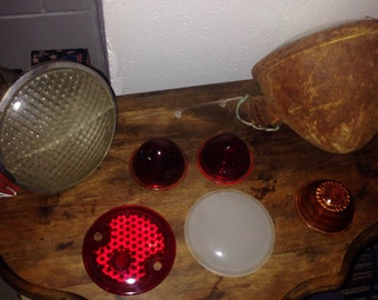 Do-Ray 510 vintage motorcycle light fixture and Dietz 909 head light and beehive lens and flat lenses SOLD AS LOT