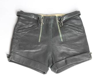 Vintage Black LEATHER SHORTS Zipper Hotpants Genuine Leather Pants Traditional German Trousers Goth Metal Dark Retro Punk Alternative Grunge