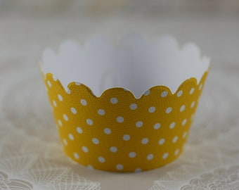 Cupcake Wrapper, Cupcake Wrappers,  Set of 12 Cupcake Wrappers, yellow cupcake wrapper, Small dot, Baby Shower cupcake wrapper