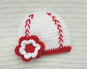 Crochet baby hat, baseball photo prop, newborn photo prop, hats for girl, crochet baseball hat, baby girl hat, baby girl gift, 0-3 month hat