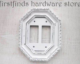 Light Switch Plate Electrical Outlet Plug Cover GFI Shabby Chic Bright White Gold Fancy Framed Rocker Painted Double Gang DESCRIPTION BELOW