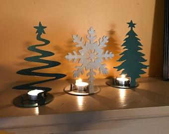 Christmas tea candle holders