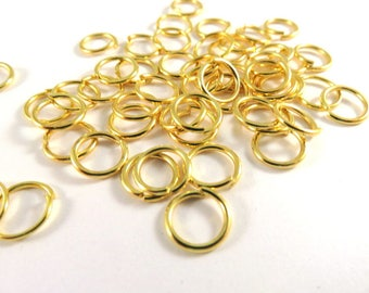 100 Gold Jump Rings 8mm Plated Open NF 18 Gauge 8mm Outside - 100 pc - F4003JR-G8mm100