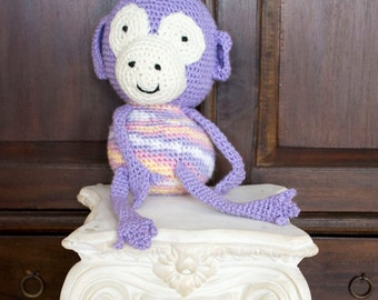 Crocheted Purple monkey, stuffed animal, toy, monkey, child, toddler, new born, photography prop, photo prop, prop