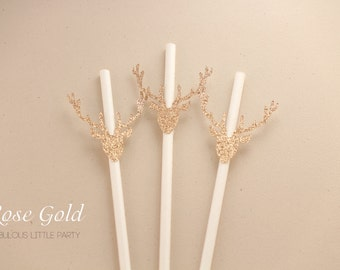 Deer Head Antlers Party Straws Christmas Party Decorations/Hunting Country Birthday Party Deer Elk Antlers Hunter Party Decor Rose Gold Deer