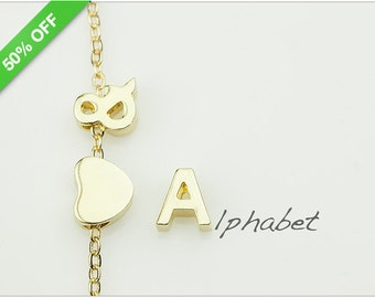 50% Off - 14K Gold Plated Tiny Letters Uppercase, Gold Alphabet Bead, Personalized Initials, 8mm, B0L5.GO01.S01