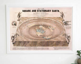 Orlando Ferguson Square and Stationary Flat Earth Map 200gsm Poster