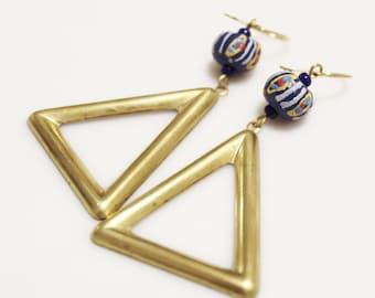 Large Triangle Earrings, African Bead Earrings, Brass Jewelry, Ethnic Earrings, Gifts Under 30